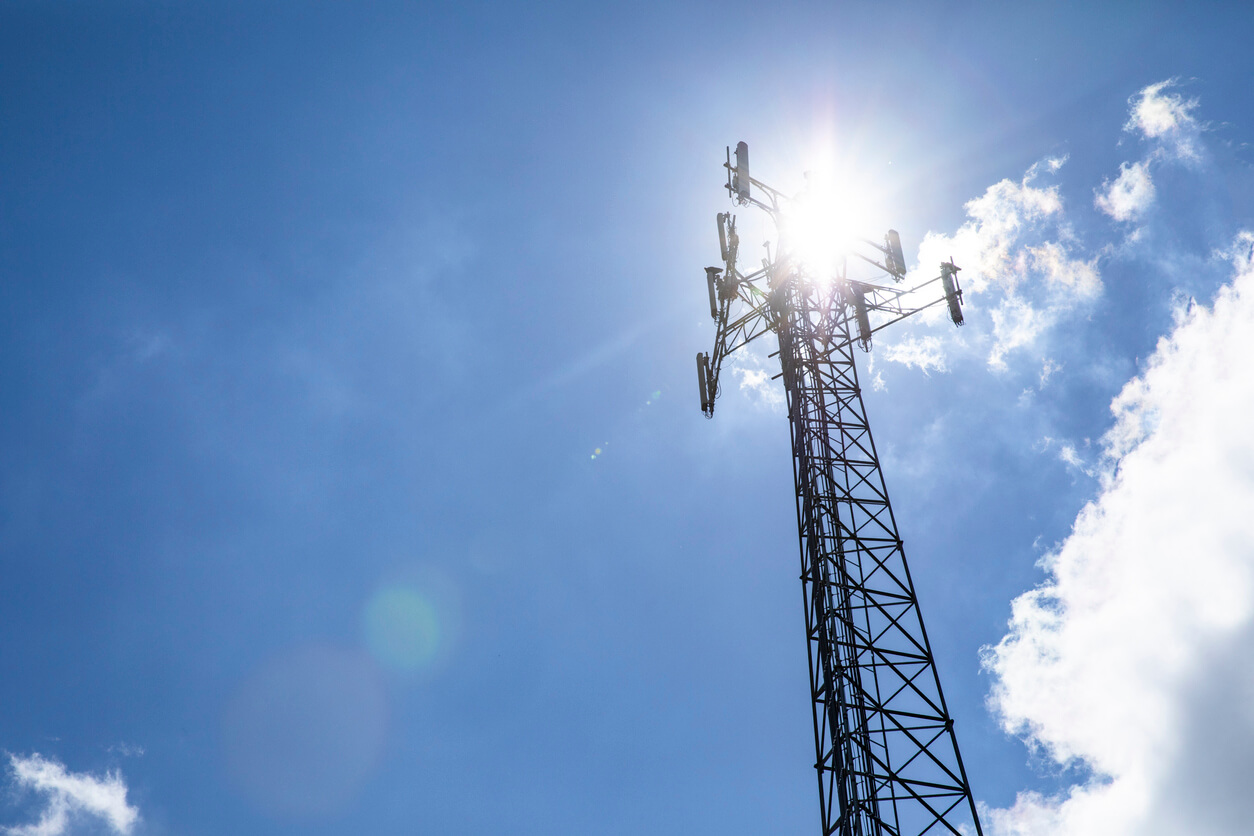Cell tower, digital divide concept